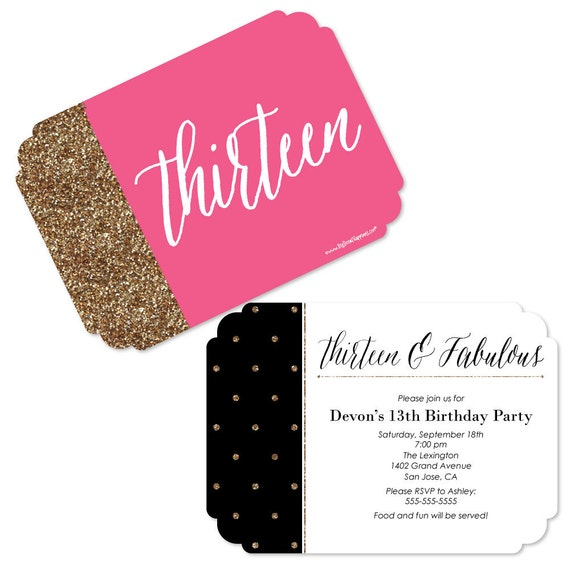 13th Birthday Invitations Chic Pink Black