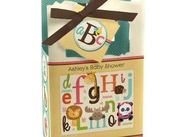 Alphabet Favor Boxes - Custom Baby Shower and Birthday Party Supplies - Set of 12