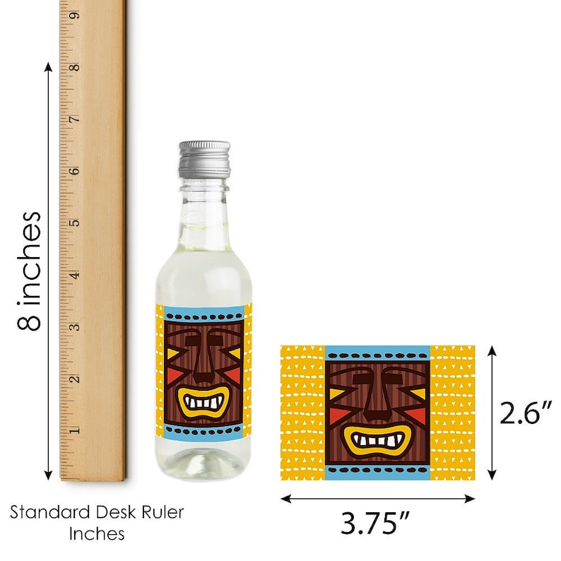 Mini Wine and Champagne Bottle Label Stickers Tiki Luau Tropical Hawaiian Summer Party Favor Gift for Women and Men 16 Ct