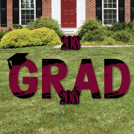 Maroon Grad - Best is Yet to Come - GRAD - Yard Sign Outdoor Lawn Decoration - Maroon 2018 Graduation Party Lawn Art - Grad Party Yard Signs