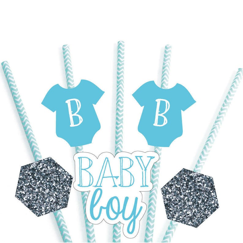 Baby Boy Baby Shower Paper Cut-Outs /& Striped Paper Straws Set of 24 Die-Cut Straw Decorations