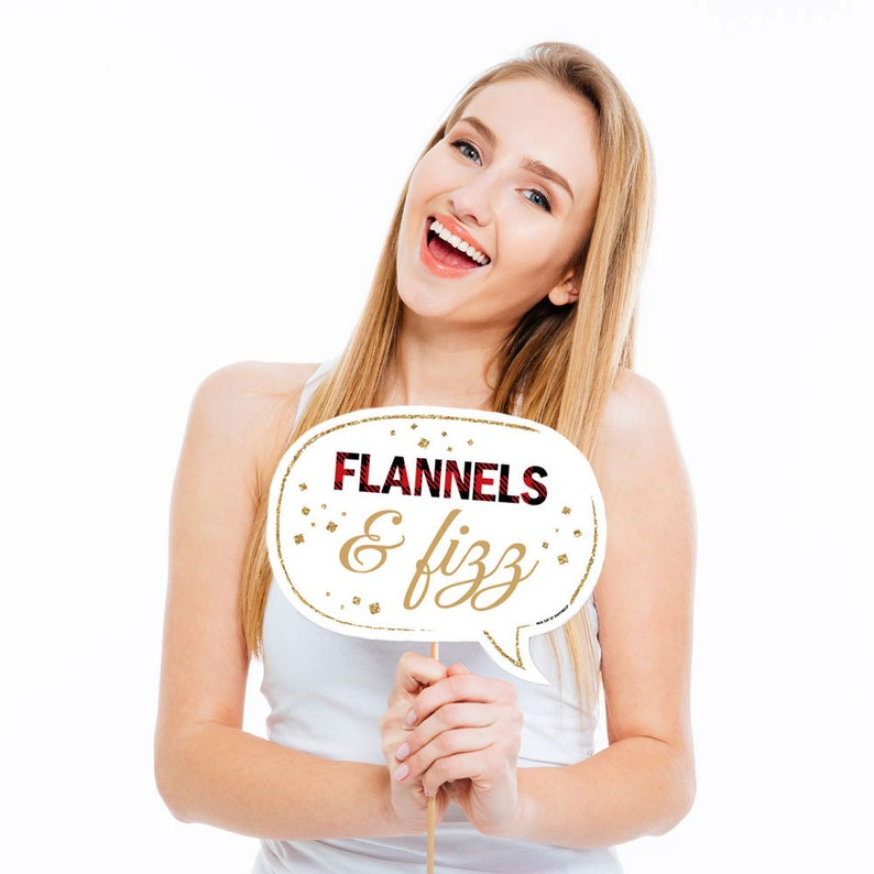 Plaid Bridal Shower Party Photo Booth Prop Kit 10 Props /& Dowels Funny Bachelorette Party Flannel Fling Before The Ring Photo Booth Props