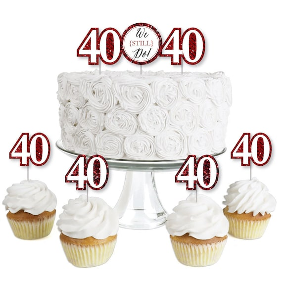 40th Anniversary Cupcake Toppers