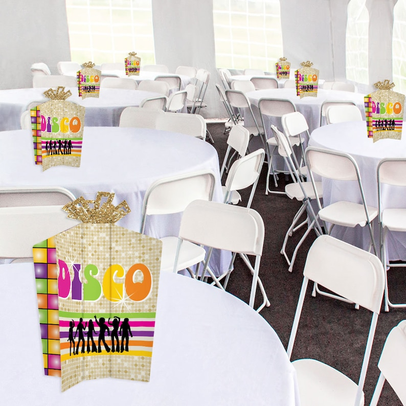 70\u2019s Disco 1970s Disco Fever Party Fold and Flare Centerpieces 10 Count Table Decorations