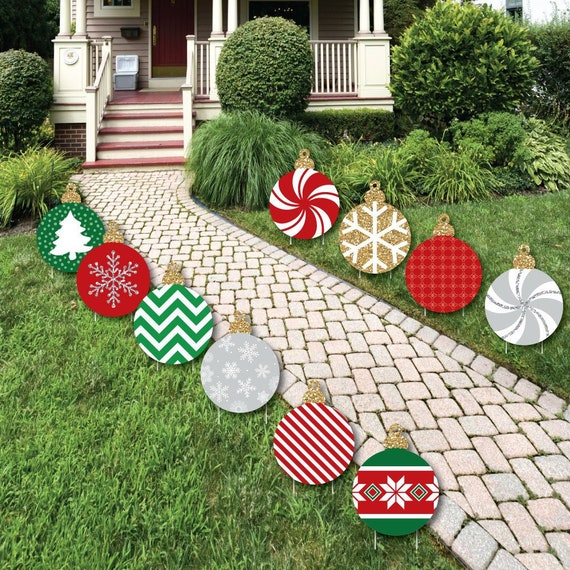 Christmas Lawn Decorations.Ornament Shaped Lawn Decorations Outdoor Christmas Decorations Ornament Lawn Decor Holiday Yard Art Yard Decorations 10 Pc