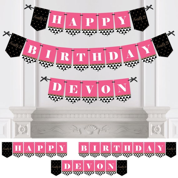 21st Birthday Party Bunting Banner