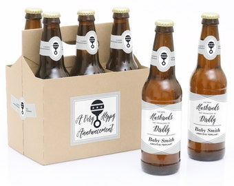 Husband Pregnancy Announcement Beer Labels - 6 Beer Bottle Labels & 1 Carrier - Husband Pregnancy Reveal - Best Husbands Promoted to Daddy