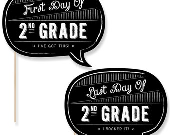 2nd Grade - First Day & Last Day of School Photo Props - 2nd Grade Photo Booth - Back to School Photo Prop - 2 Talk Bubbles