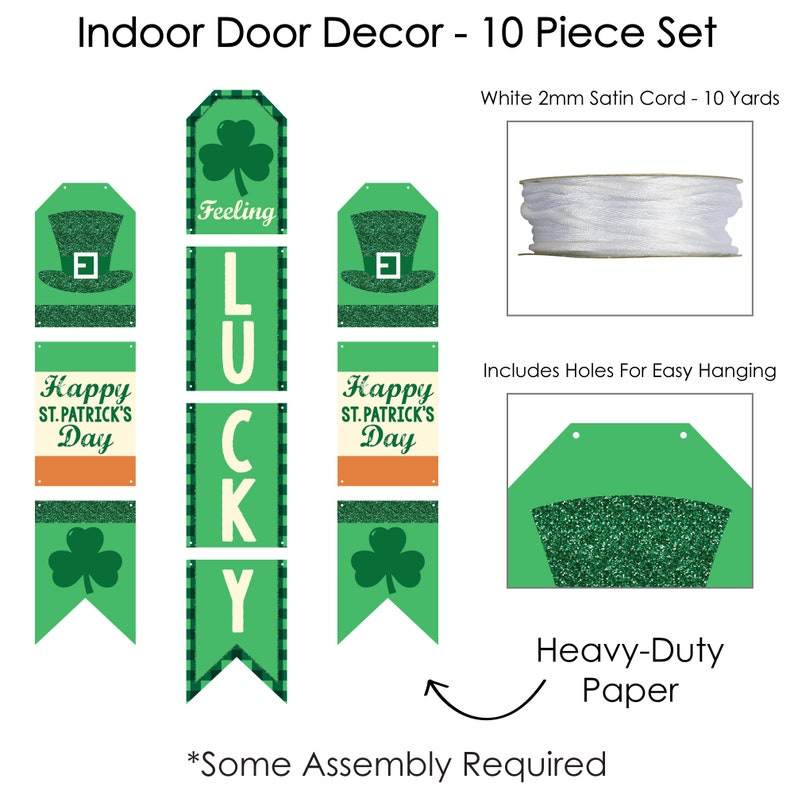 St Saint Patty\u2019s Day Party Room Decoration Kit Wall and Door Hanging Decor Patrick\u2019s Day
