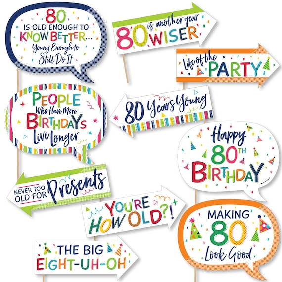 Colorful Birthday Party Photobooth Kit with Custom Talk Bubble 20 Ct. Cheerful Happy Birthday Photo Booth Props 90th Birthday