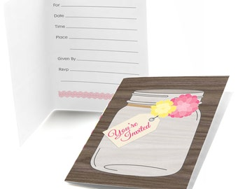 Rustic Floral - Fill In Invitations - Baby Shower Invitations - Birthday Party Invites - Bridal Shower - 8 Folding Note Cards w/Envelopes