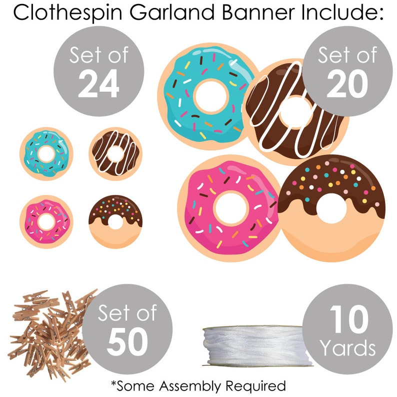 Clothespin Garland Banner Donut Worry 44 Pieces Doughnut Party DIY Decorations Let\u2019s Party