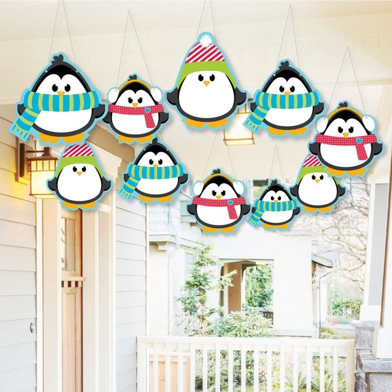Hanging Holly Jolly Penguin Outdoor Christmas Porch Tree