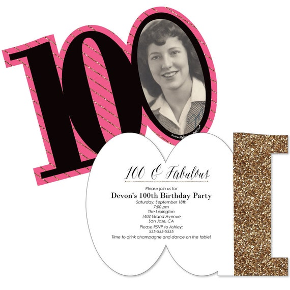 Chic 100th Birthday Pink Black And Gold Invitations