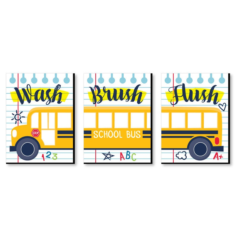 Back to School - Kids Bathroom Rules Wall Art - 7 5 x 10 inches - Set of 3  Signs - Wash, Brush, Flush