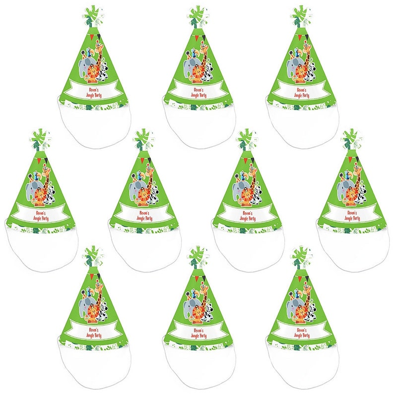 Personalized Mini Cone Party Hats Safari Zoo Small Little Birthday Hats Jungle Party Animals Baby Shower Mini Party Hats 10 Ct