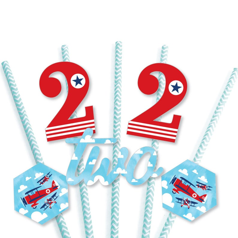 Airplane Die-Cut Straw Decorations Vintage Plane Second Birthday Paper Cut-Outs /& Striped Paper Straws 24 Ct 2nd Birthday Taking Flight