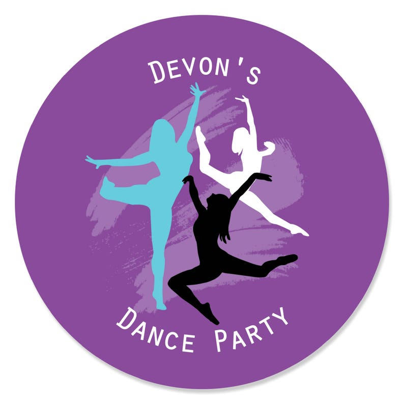 Must Dance to the Beat Personalized Dance Party DIY Craft Sticker Label Supplies Dance 24 Ct Custom Birthday Circle Sticker Labels
