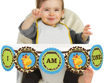 Boy Giraffe - 1st Birthday - I Am One - First Birthday High Chair Banner - First Birthday Party Decorations