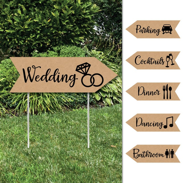 Rustic Kraft - Wedding and Receptions Signs - Double Sided Outdoor Yard Sign - Weather Resistant Waterproof Corrugated Plastic - Set of 6