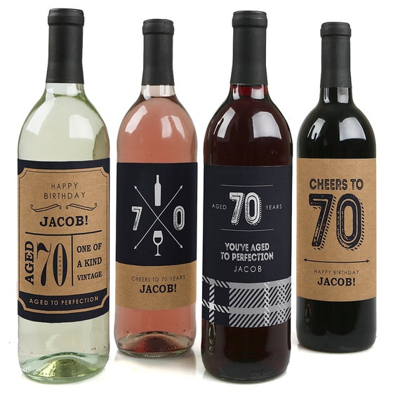 70th Birthday Wine Bottle Labels