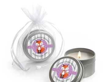 Miss Foxy Fox Candle Tin Favors -  Baby Shower or Birthday Party Supplies - 12 Count
