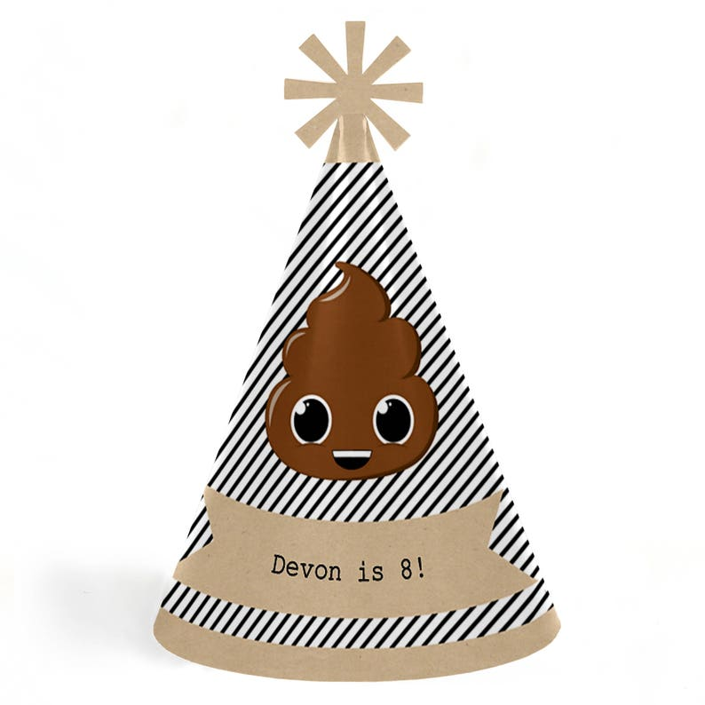 Standard Size Personalized Lil Stinker Birthday Supplies 8 Ct. Party /'Til You/'re Pooped Birthday Party Hats Poop Emoji Cone Hats