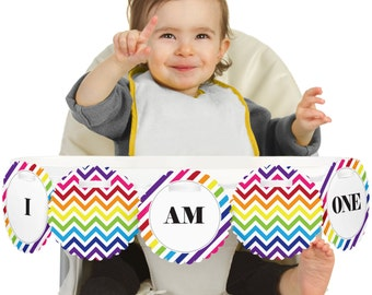 Chevron Rainbow - 1st Birthday - I Am One - First Birthday High Chair Banner - First Birthday Party Decorations