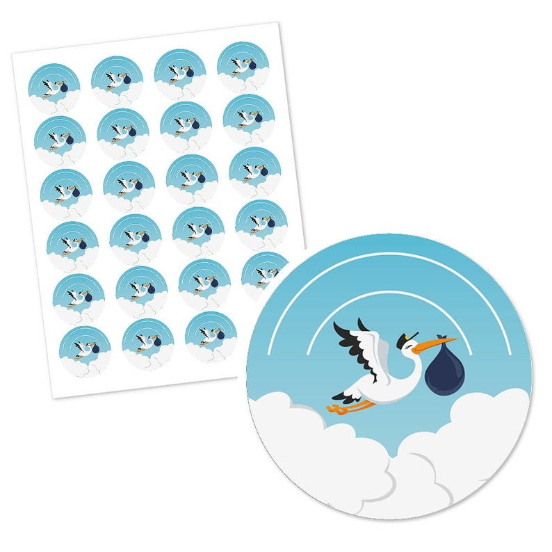 Boy Special Delivery Blue Stork Circle Stickers Boy Stork Party Label -24 Ct Personalized It/'s A Boy Baby Shower DIY Craft Supplies