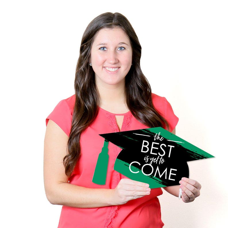 Outdoor Green Graduation Party Yard Decorations Grad Cap Shaped Graduation Lawn Decorations 10 Pc. Best is Yet to Come Green Grad
