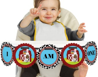 Farm Animals - 1st Birthday - I Am One - First Birthday High Chair Banner - First Birthday Party Decorations