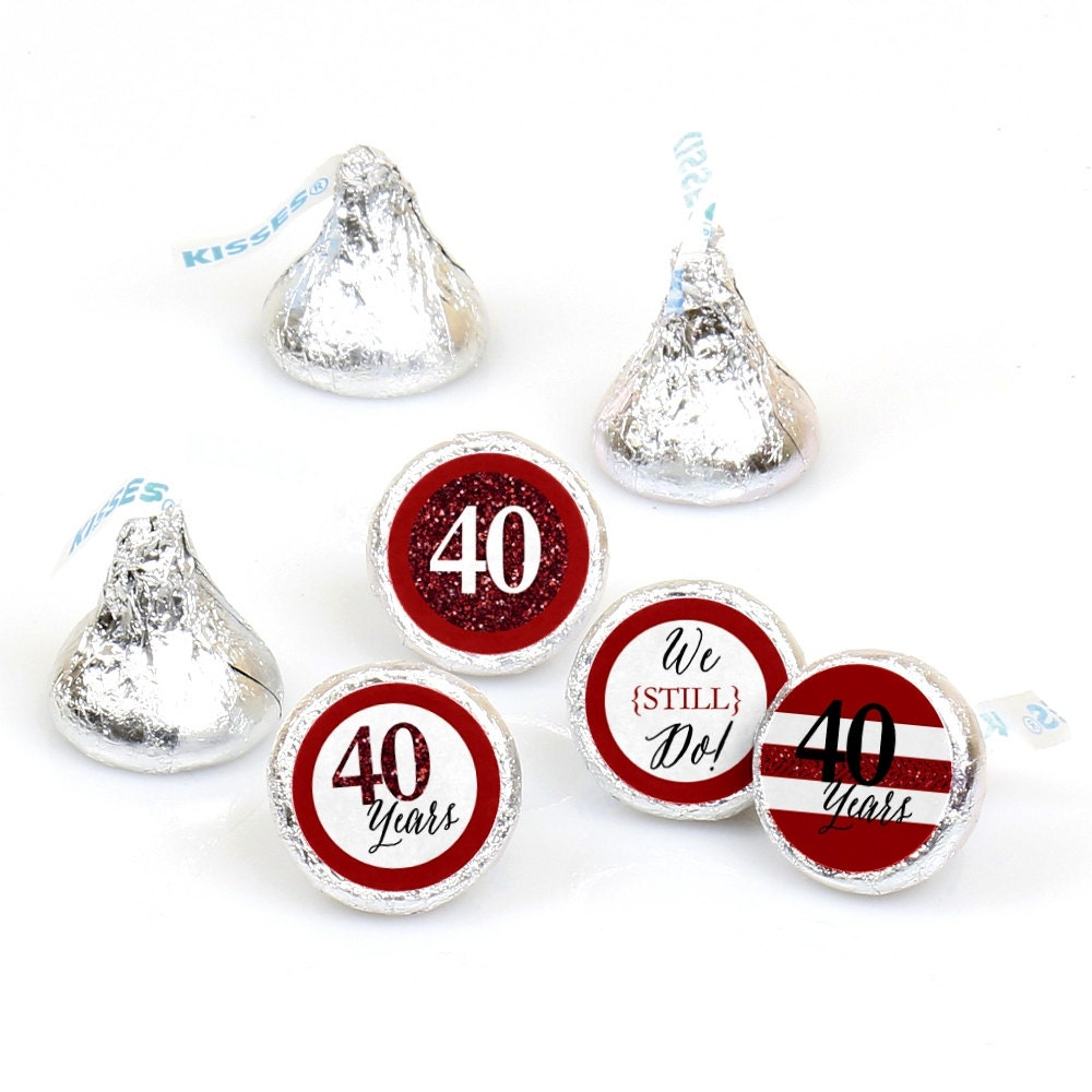 Hershey Kiss® Stickers - 40th Anniversary - Round Candy Label Party ...