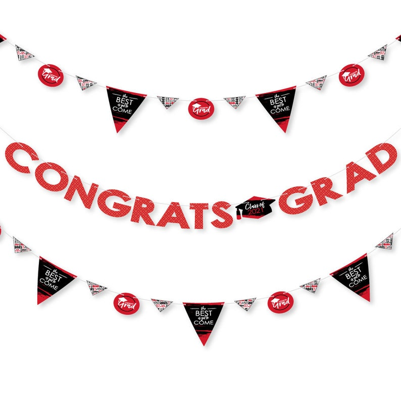 36 Banner Cutouts and Congrats Grad Banner Letters 2021 Red Graduation Party Letter Banner Decoration Red Grad Best is Yet to Come