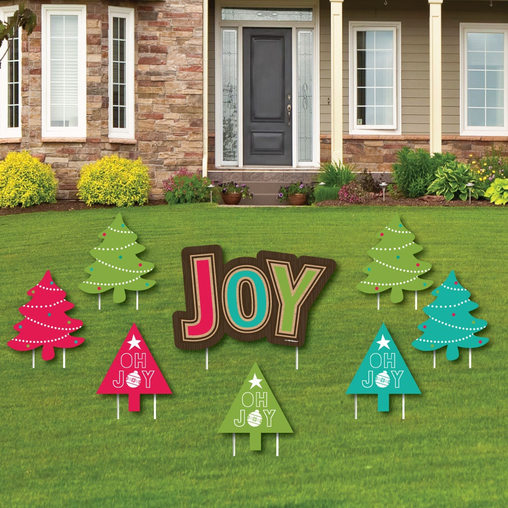 Rustic Joy Shaped Lawn Decorations Outdoor Holiday & Christmas Yard Decorations Christmas Lawn Ornaments Holiday Yard Art 8 Pc