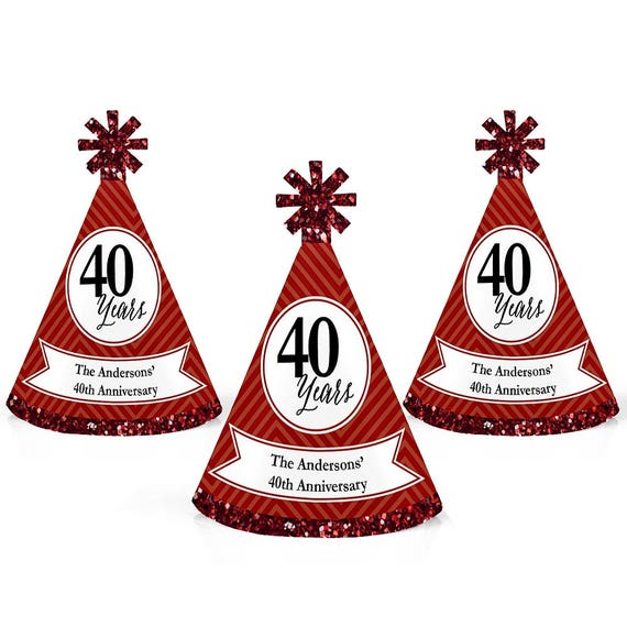 40th Anniversary Personalized Mini Cone Party Hats Small