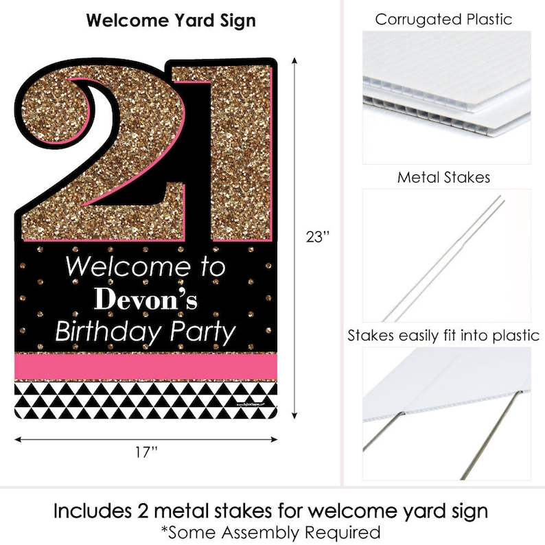 Finally 21 Girl Birthday Party Personalized Welcome Yard Sign 21st Birthday Party Lawn Sign 21st Birthday Party Decorations