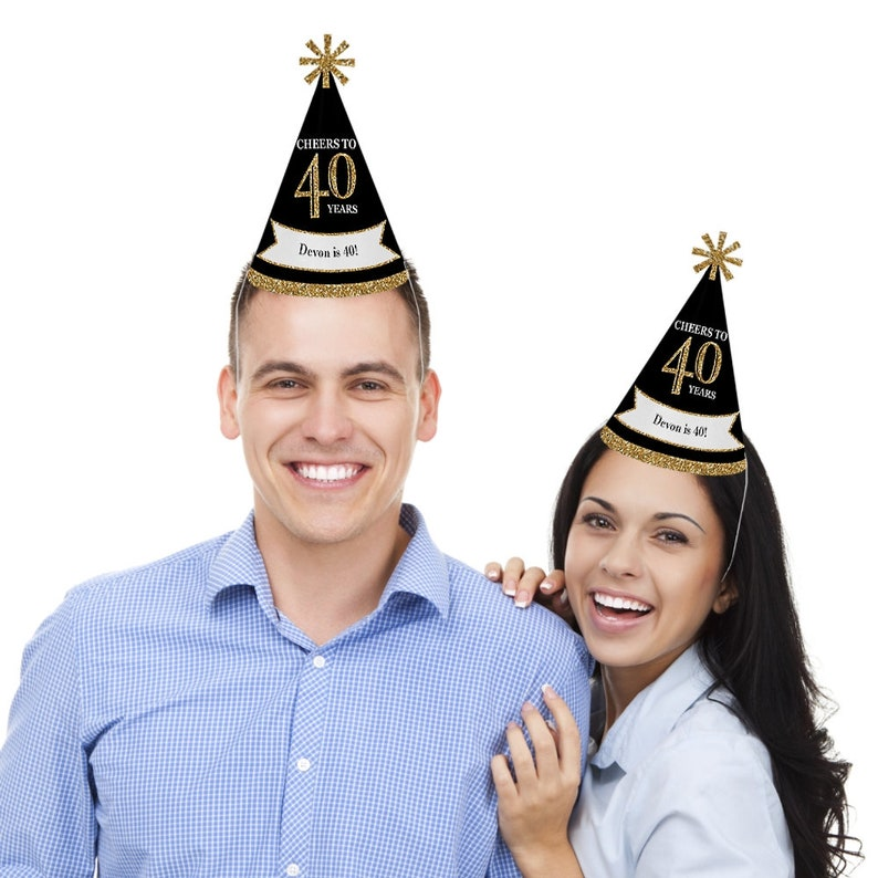 40th Birthday Party Hats Adult Gold Cone