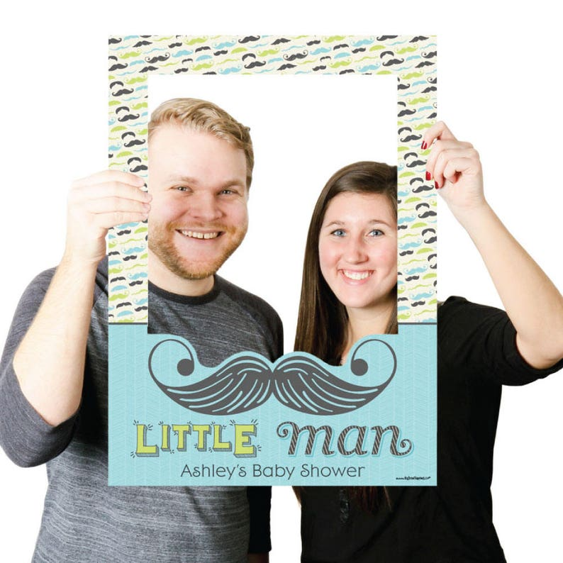 Personalized Birthday or Baby Shower Photo Booth Picture Frame /& Props Printed on Sturdy Material Little Man Mustache Party