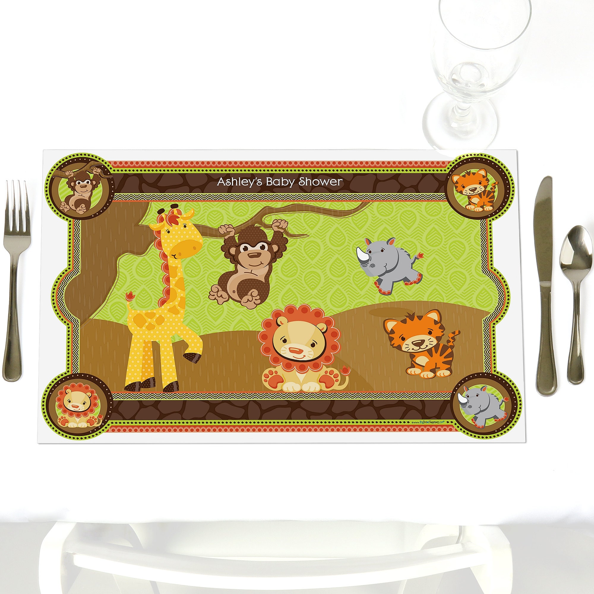 Safari jungle party table decorations personalized funfari etsy - Deco table jungle ...