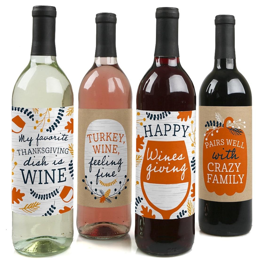 Thanksgiving Wine Bottle Stickers
