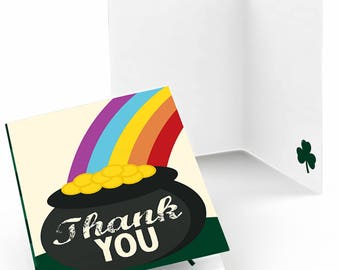 St. Patrick's Day Party Thank You Cards - Saint Patty's Day Party Supplies - Pot of Gold Party Thank You's - Rainbow - Set of 8 Note Cards