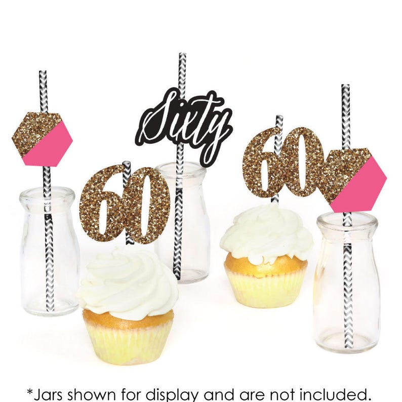 and Gold Die-Cut Straw Decorations Set of 24 Chic 60th Birthday \u2013 Pink Birthday Party Paper Cut-Outs /& Striped Paper Straws Black