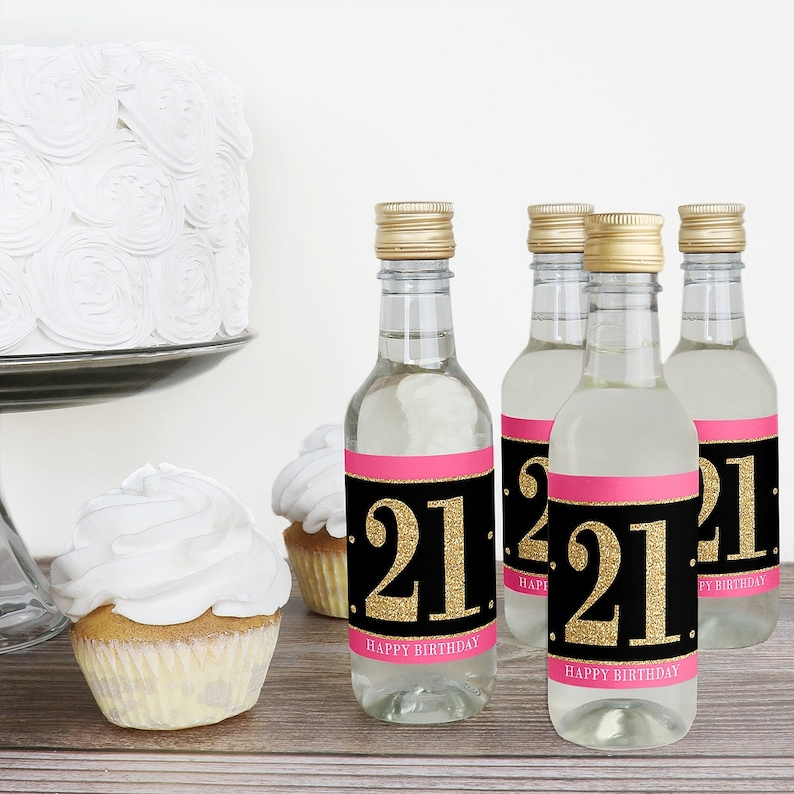 Finally 21 Girl Mini Wine and Champagne Bottle Label Stickers Birthday Favor Gift for Women and Men 16 Ct. 21st Birthday Party