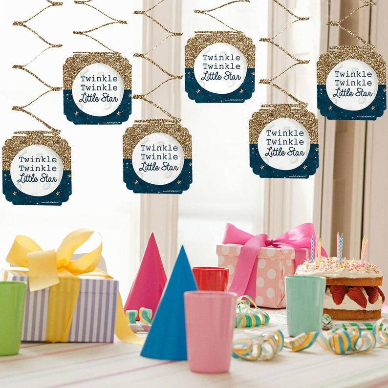 Set of 6 Twinkle Twinkle Little Star Baby Shower and 1st Birthday Party Decorations Hanging Decorations