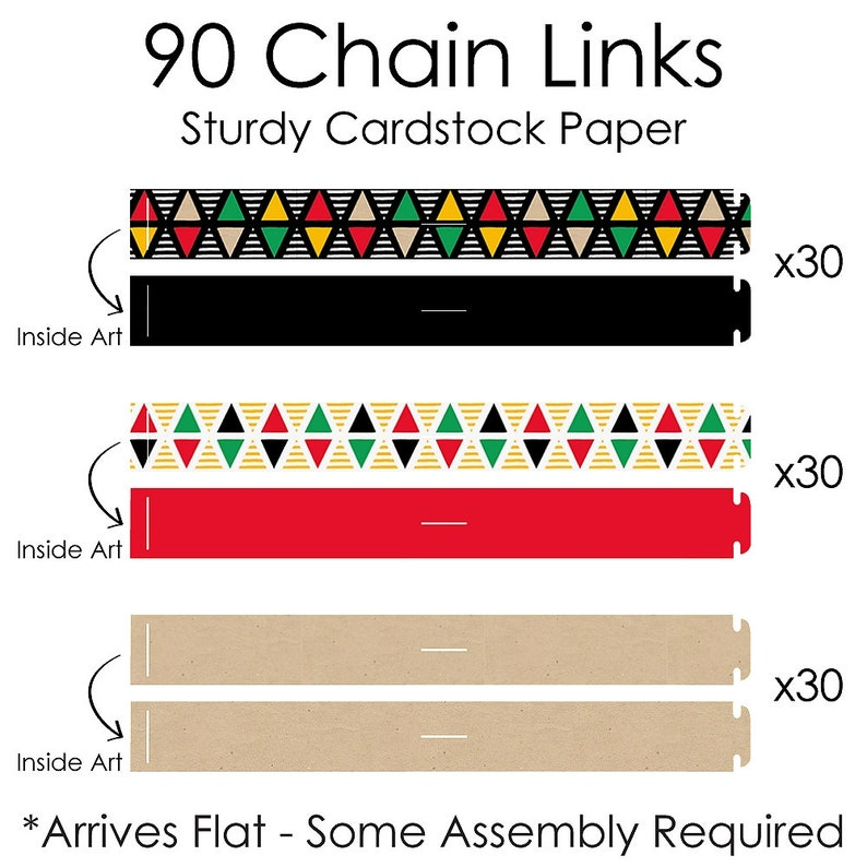 Happy Kwanzaa African Heritage Holiday Party Paper Chains Garland 21 feet 90 Chain Links and 30 Paper Tassels Decoration Kit