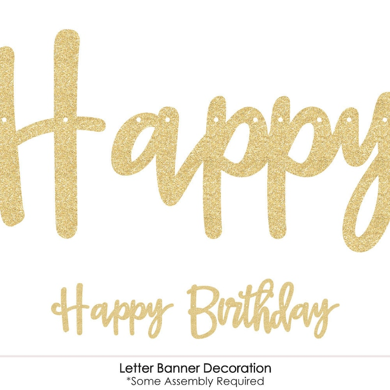 36 Banner Cutouts and No-Mess Real Gold Glitter Happy Birthday Banner Letters Birthday Letter Banner Decoration Gold 50th Birthday