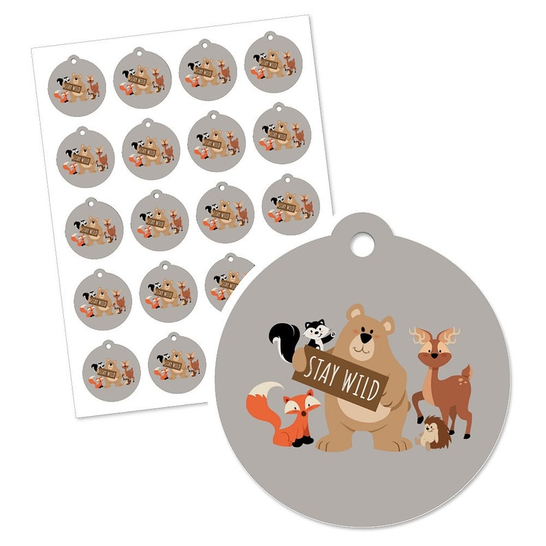 Forest Friends Woodland Baby Shower or Birthday Party Favor Gift Tags 20 Count Woodland Animals Stay Wild Forest Animals