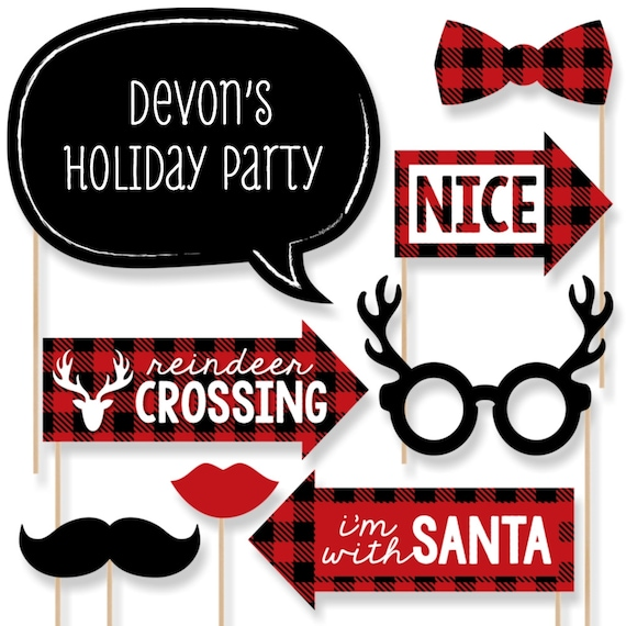36 Banner Cutouts and Merry Christmas Banner Letters Reindeer Holiday /& Christmas Party Letter Banner Decoration Big Dot of Happiness Prancing Plaid