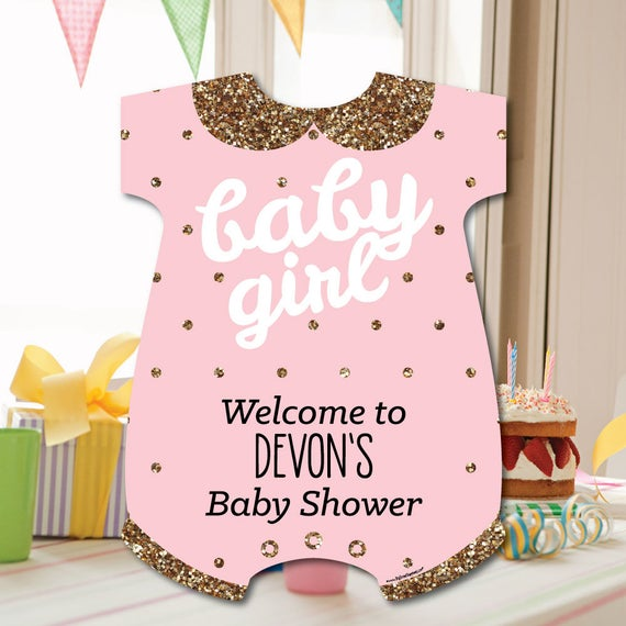Hello Little One Girl Baby Shower Striped Decorative Straws Pink and Gold Paper Straw Decor Set of 24