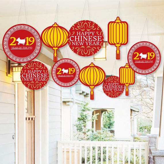 Hanging Chinese New Year Outdoor 2019 Year of the Pig ...